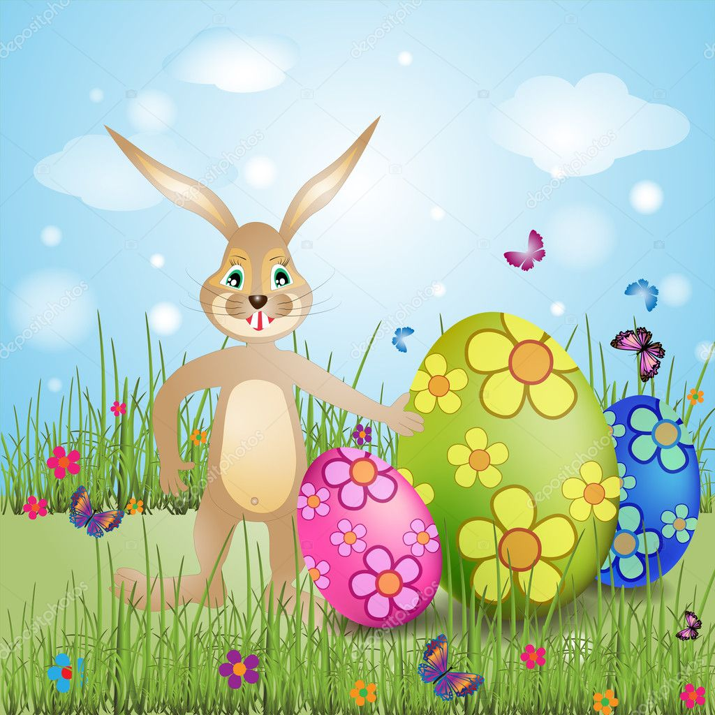 IIlustration of easter bunny with colorful egg — Stock Vector #10372693