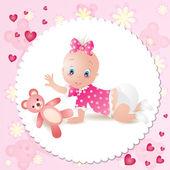 Baby girl with teddy bear — Stock Vector