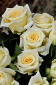 Bouquet of white roses and yellow — Stock Photo