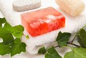 Mydło róża i kąpieli — Zdjęcie stockowe