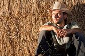 Sitting Cowboy — Stock Photo
