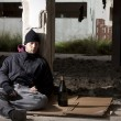 Sleeping Homeless Alcoholic — Stockfoto