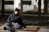 Sleeping Homeless Alcoholic — Stock fotografie