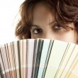 Woman with Color Swatch — Foto Stock