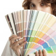 Woman with Color Swatch — Stock Photo