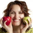 Smiling Woman with Apples — Stock Photo