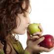 Woman Kissing Green Apple — Stock Photo #10443641
