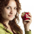 Foto Stock: Womwith Red Apple