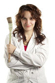 Confident Woman Painter with Brush — Stock Photo