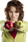Confident Woman with Apples — Stock Photo