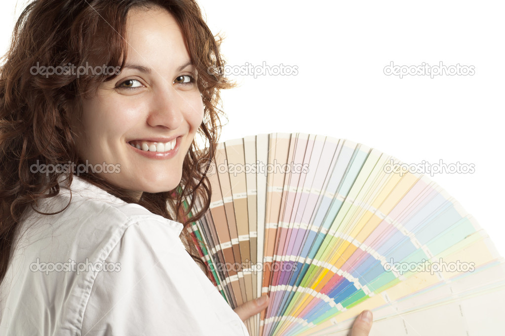 Smiling Woman with Color Swatch  Stock Photo #10443467