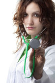Woman Doctor with Stethoscope — Stock Photo