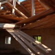 Collapsed Wooden Roof - Stock Photo