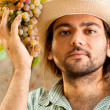 Farmer with Grapes — Stock Photo