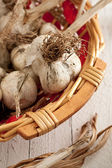 Garlic in a Wicker Basket — Stock Photo