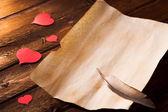 Aşk mektubu yürekleri — Stok fotoğraf