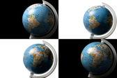 黒と白の背景に世界の 4 つのビュー — ストック写真