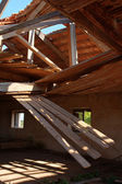 Collapsed Wooden Roof — Stock Photo
