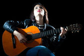 Pretty Woman Playing Guitar — Stock Photo