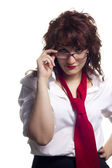 Woman with Glasses and Tie — Stock Photo