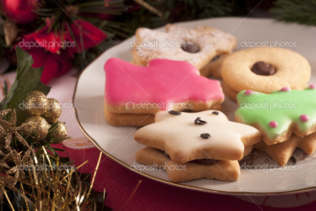 Christmas Cookies with Decorations — Stock Photo #10800294