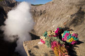 Flowers as sacrificial offering at the crater of Mt. Bromo — Stock Photo