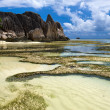 Golden Bay on the island of La Digue — Stock Photo