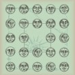 Vintage background-circle faces — Stock Vector