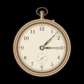 Gold vintage pocket clock — Vector de stock