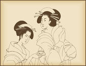 Young ladies drinking tea- japanese style drawing — Stock Vector
