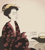 Woman drinking tea- Japanese style drawing- vector — Stock Vector