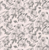 Lily drawing seamless pattern — Stock Vector