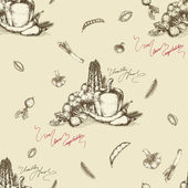 无缝蔬菜背景-绘图 — 图库矢量图片