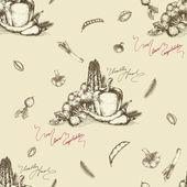 シームレスな野菜背景描画 — ストックベクタ