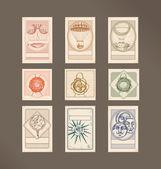 Postage stamps- vintage — Stock Vector