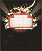 Theatre marquee with movie theme objects. Composition — Stock Vector