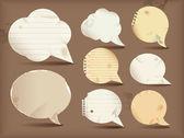 Burbujas de discurso de papel — Vector de stock