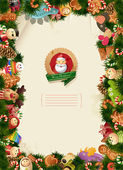 Santa & friends - christmas background — Stock Vector