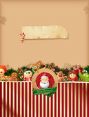 Christmas - toys background and old paper — Stock Vector