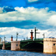 Stock Photo: Limpid river Nevsurrounded by majestic architecture and great bridge..