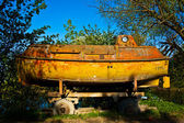 Yellow military old Soviet submarine. — Stock Photo
