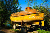 Yellow military old Soviet submarine. — Stock Photo
