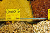 Tea and spices on display at Spice Bazaar, Istanbul, Turkey — Stock Photo