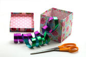 Gift box and scissors — Stock Photo