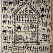Tradiitonal hand painted Orissa tribal painting on silk - Stock Photo