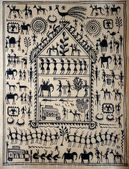 Tradiitonal hand painted Orissa tribal painting on silk — Stock Photo