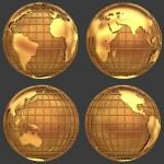 Stylized golden globe — Stock Photo