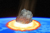 Collision of an asteroid with the Earth — Stock Photo