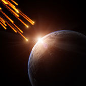 Meteorite shower on a planet — Stock Photo