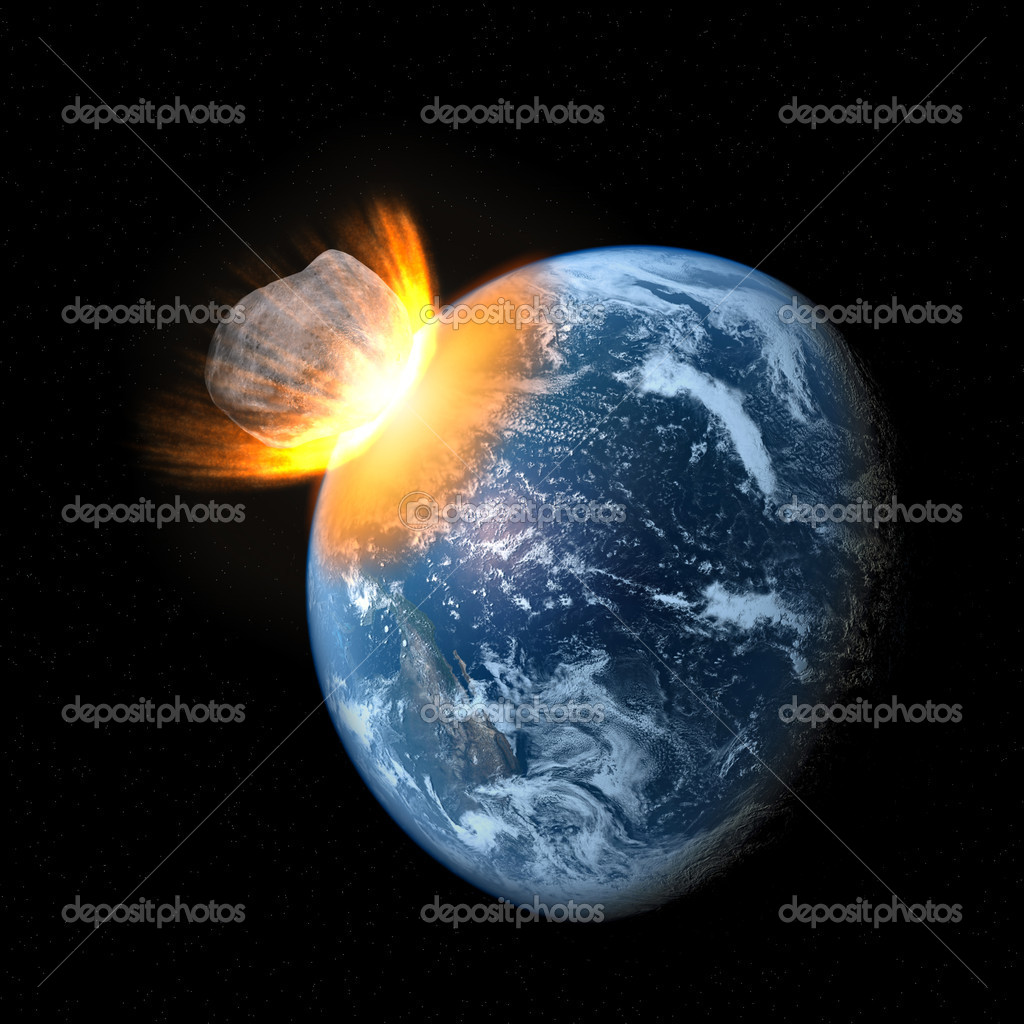 Space scene of asteroid impact on earth — Stock Photo ...
